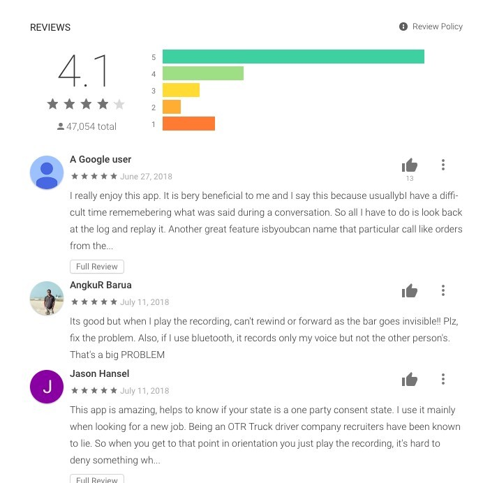 Record my call reviews